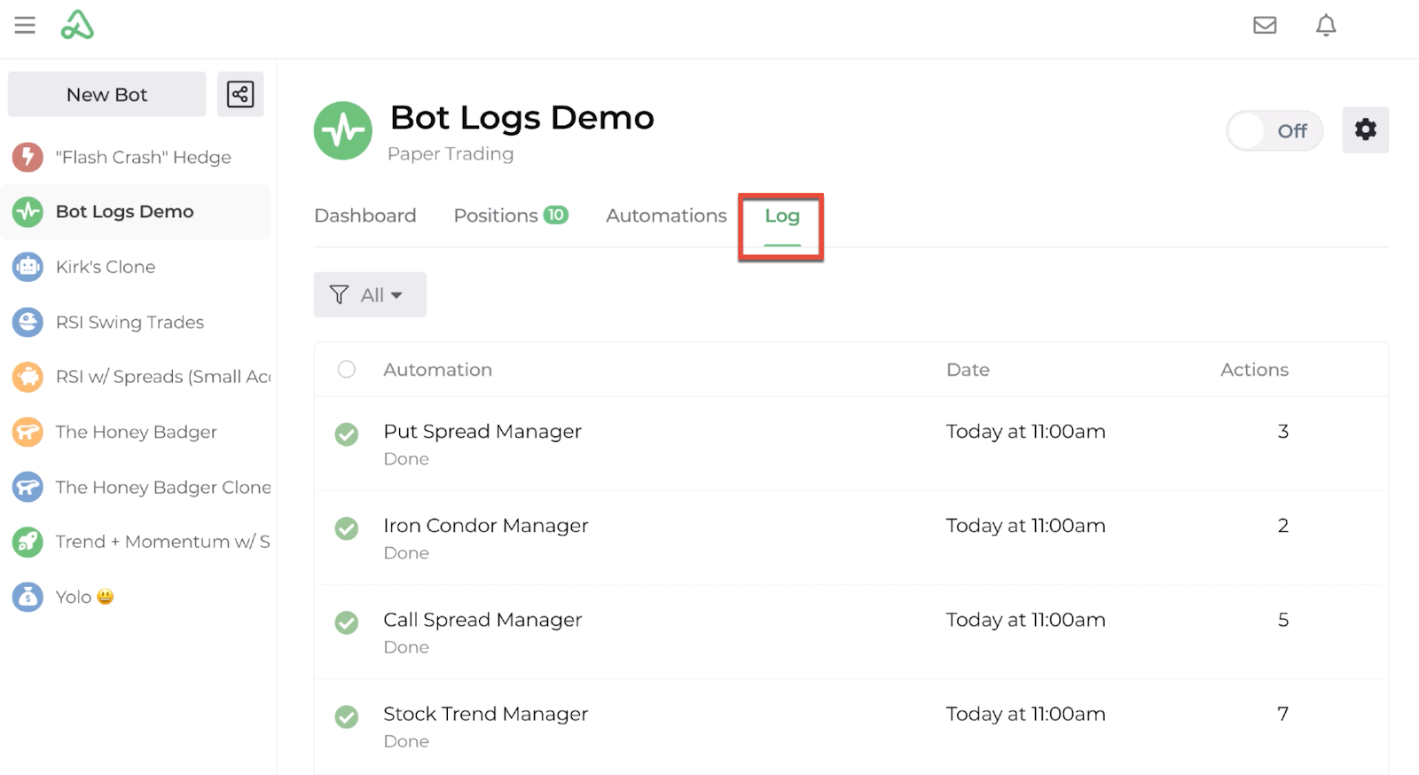 Screenshot highlighting the location of the log tab on the bot dashboard