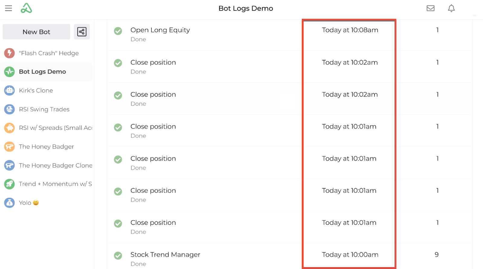 Screenshot highlighting the time stamp for each entry in the bot log