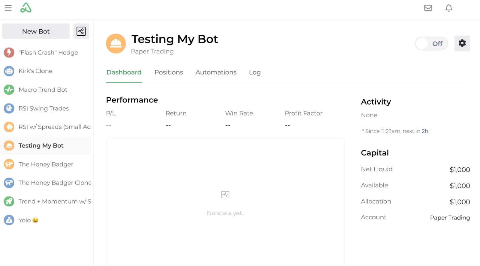 Screenshot of a new bot named Testing My Bot