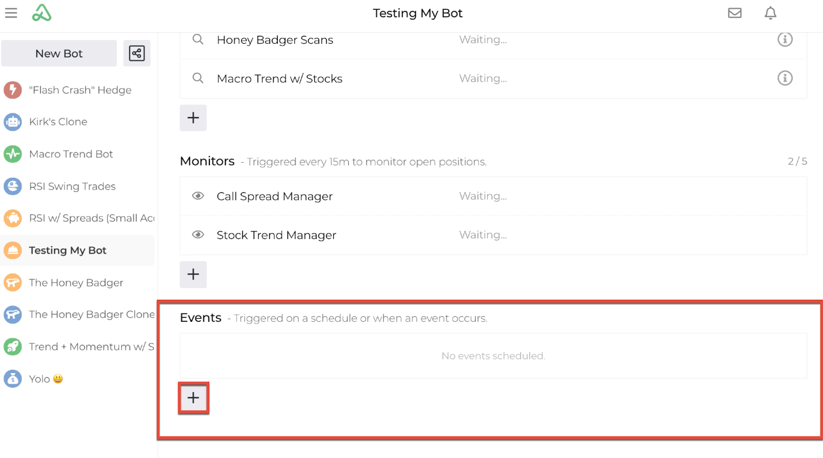 Screenshot highlighting the button location for adding an event automation