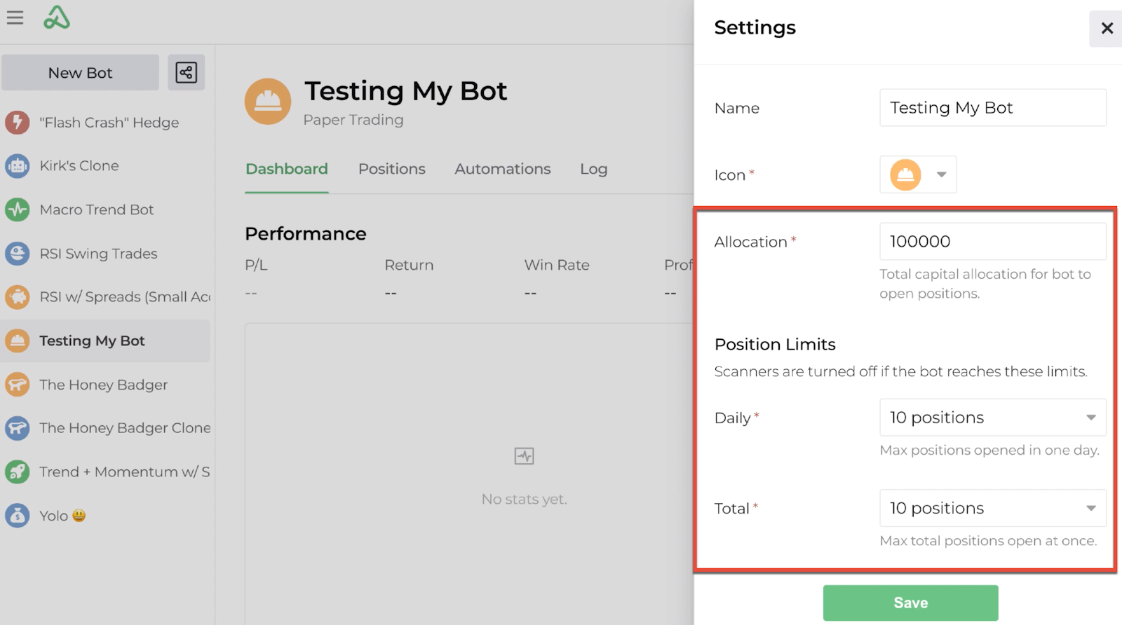 Screenshot highlighting the allocation and position limits of the bot