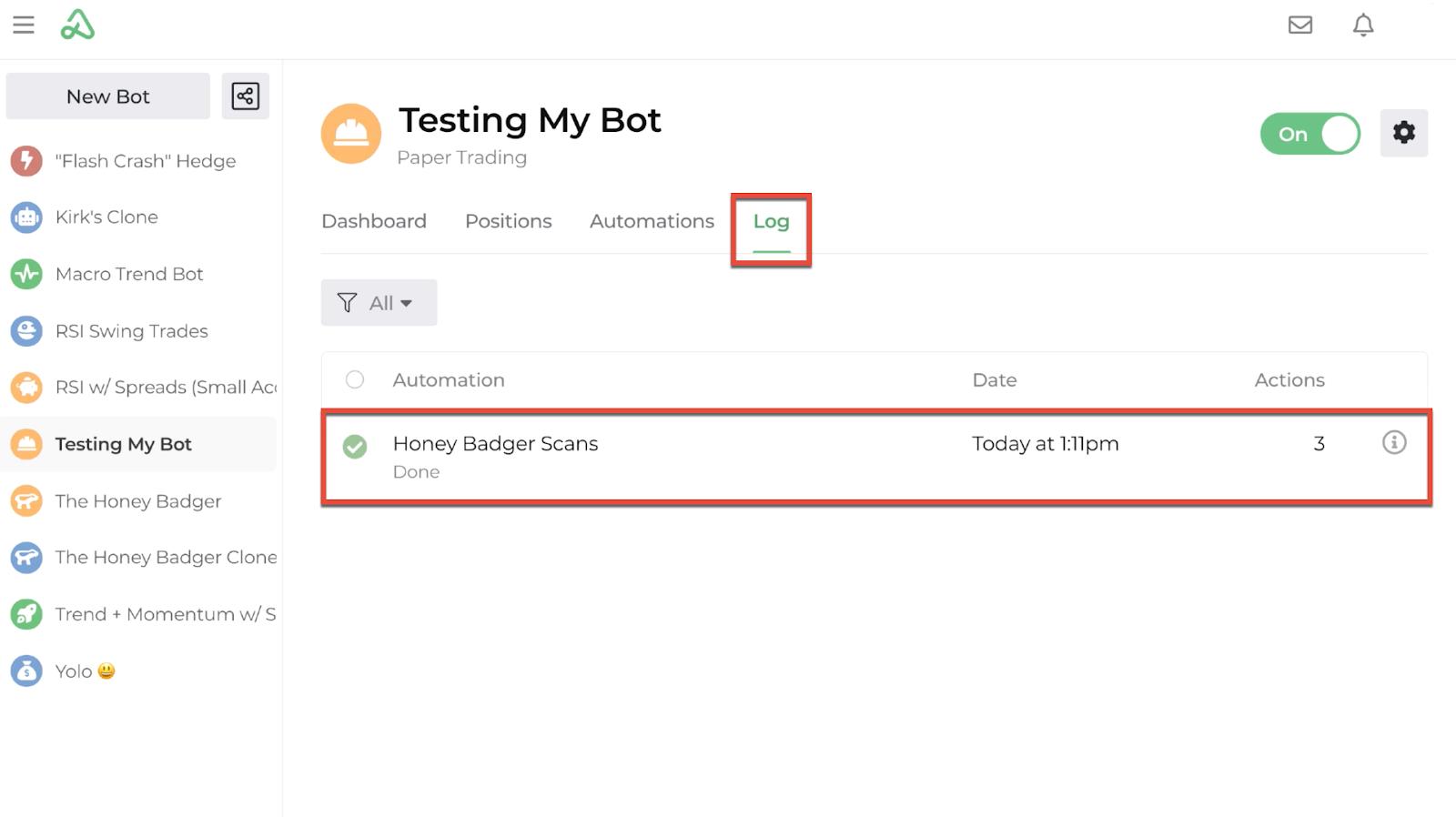 Screenshot of the bot log display