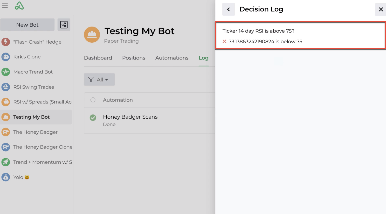 Screenshot highlighting the decision log display