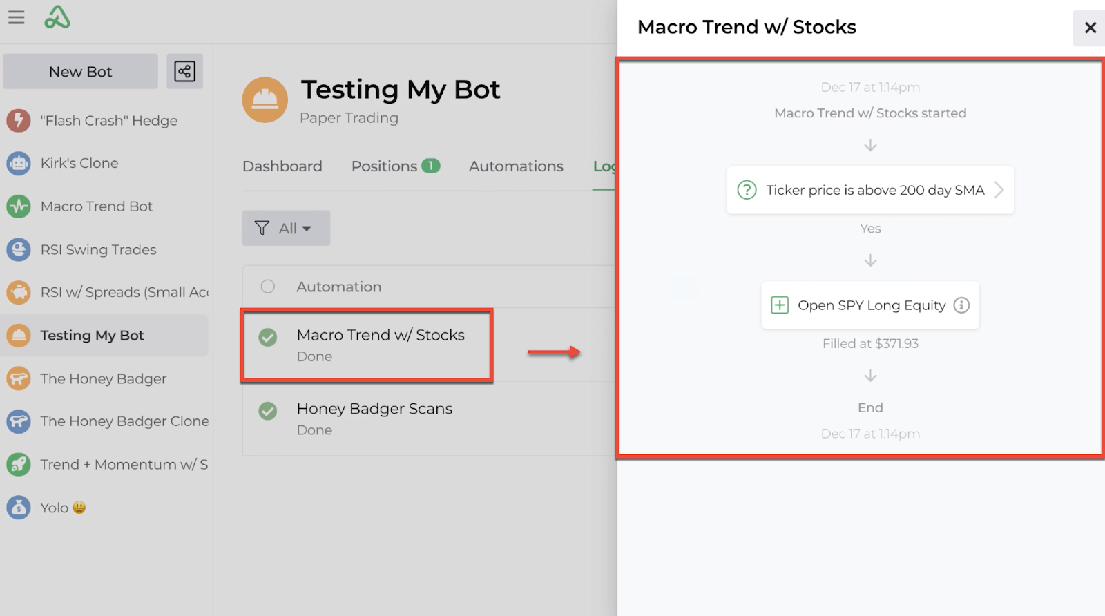 Screenshot displaying the position entry details displayed in the bot log