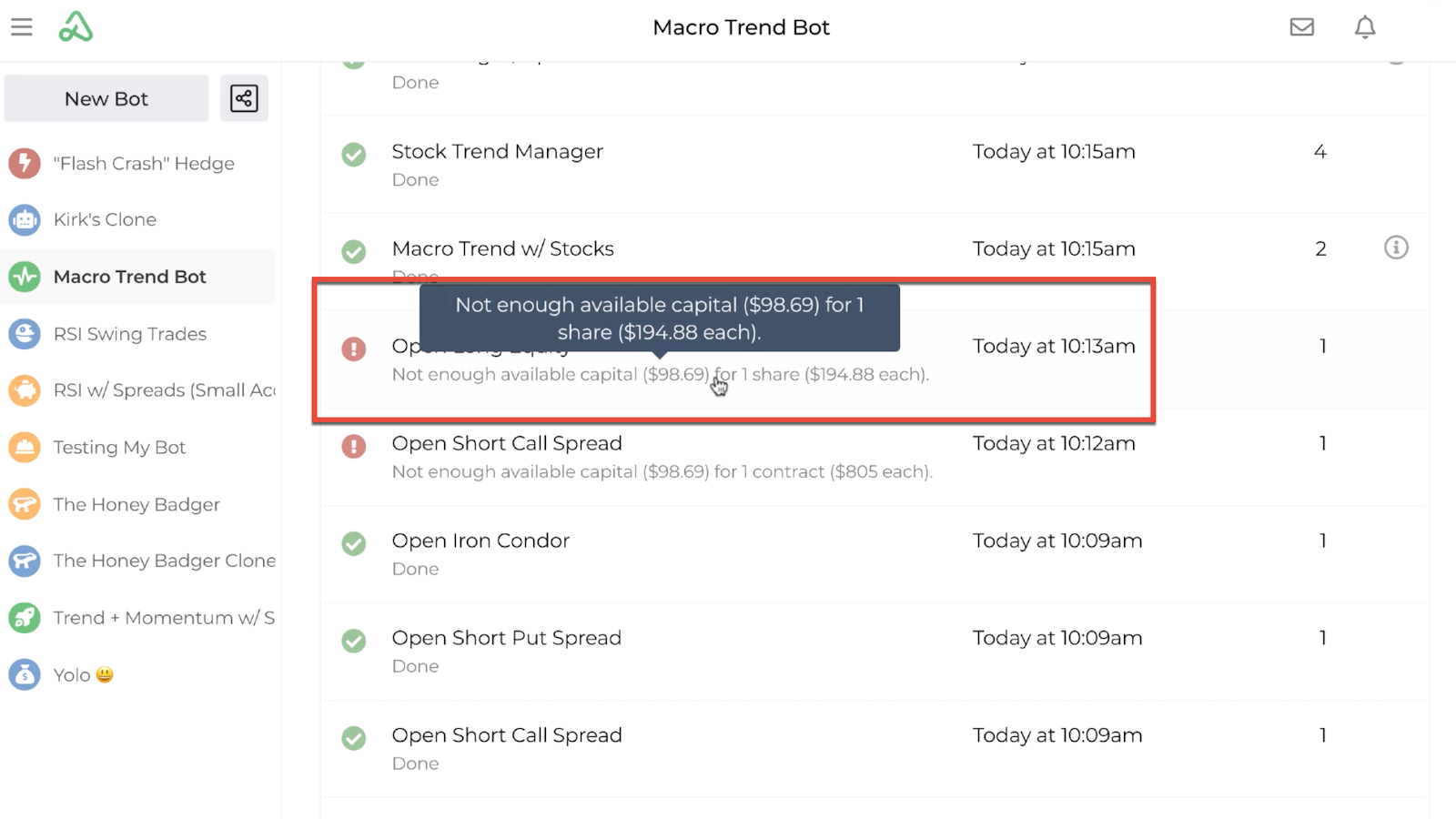 Screenshot highlighting the bot log error message hover detail