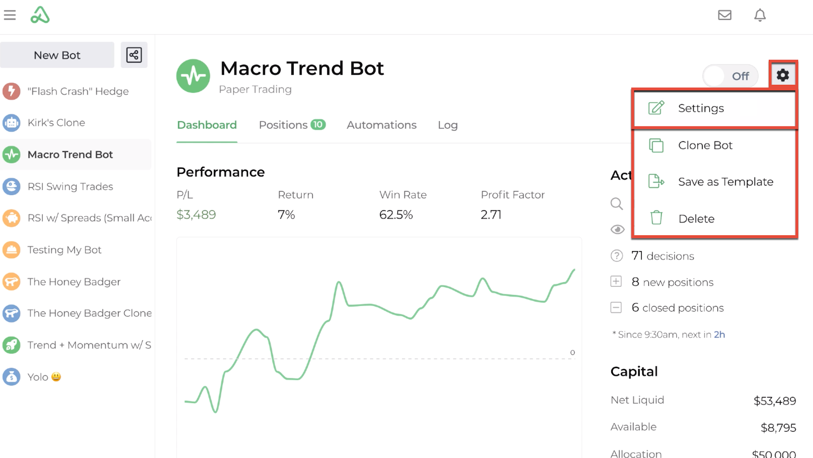 Screenshot highlighting the bot's global setting display