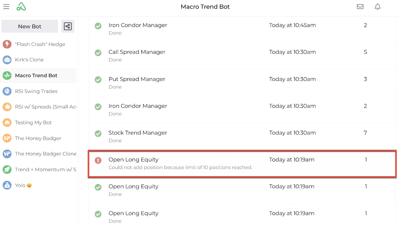 Screenshot highlighting error messages on the bot log