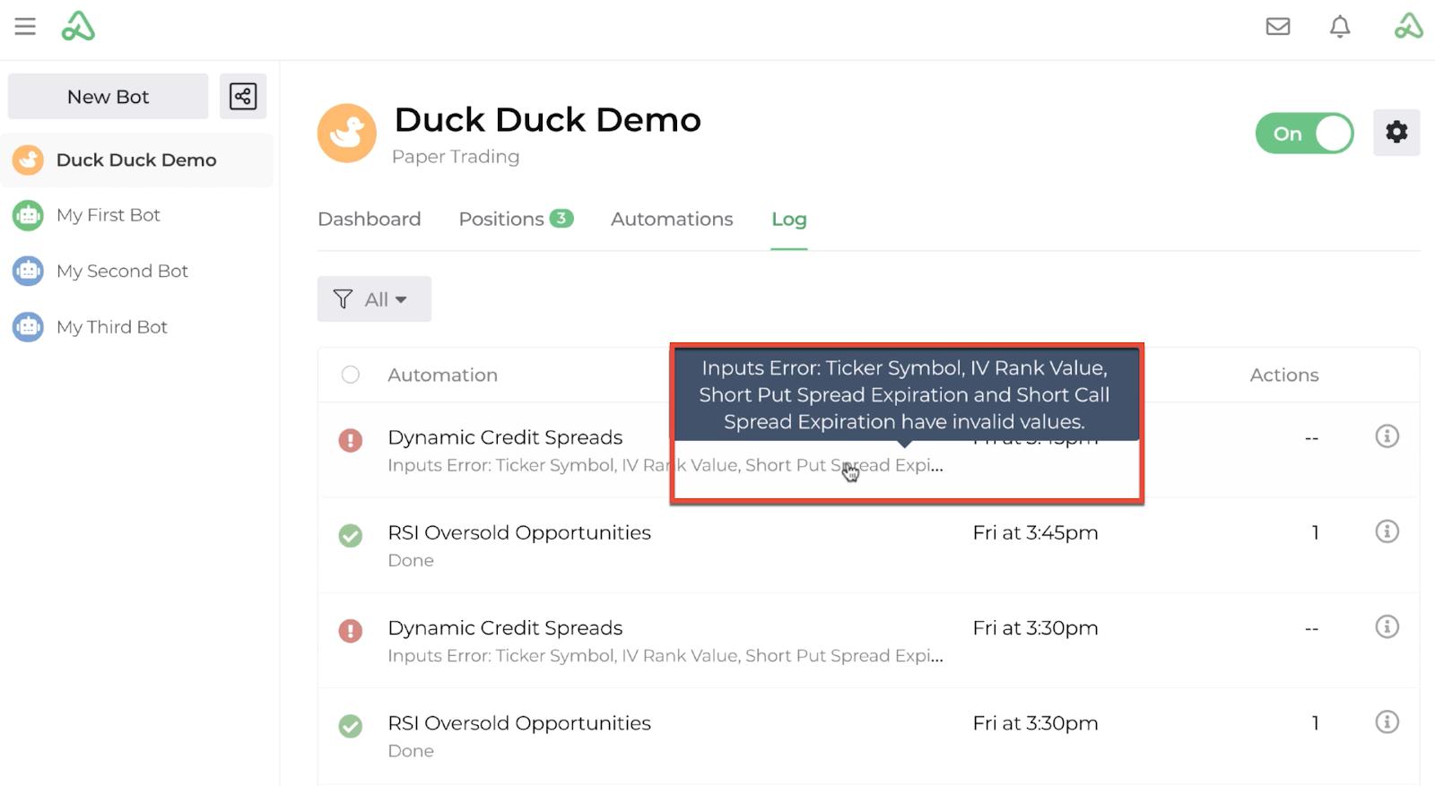 Screenshot highlighting the hover display message on the bot log