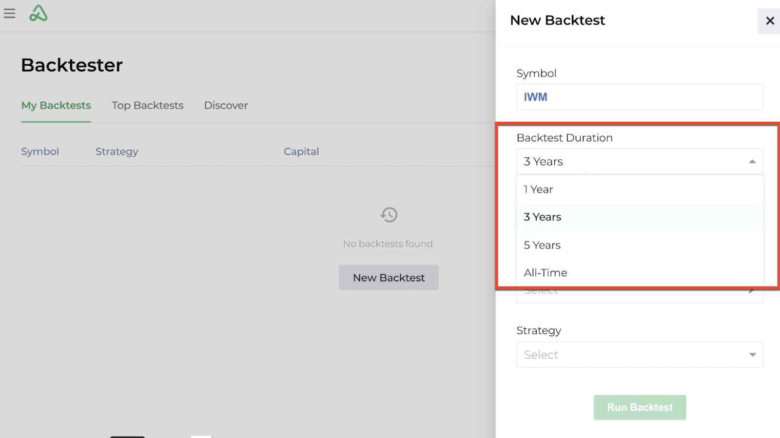 Screenshot highlighting the backtest duration options available for a new backtest