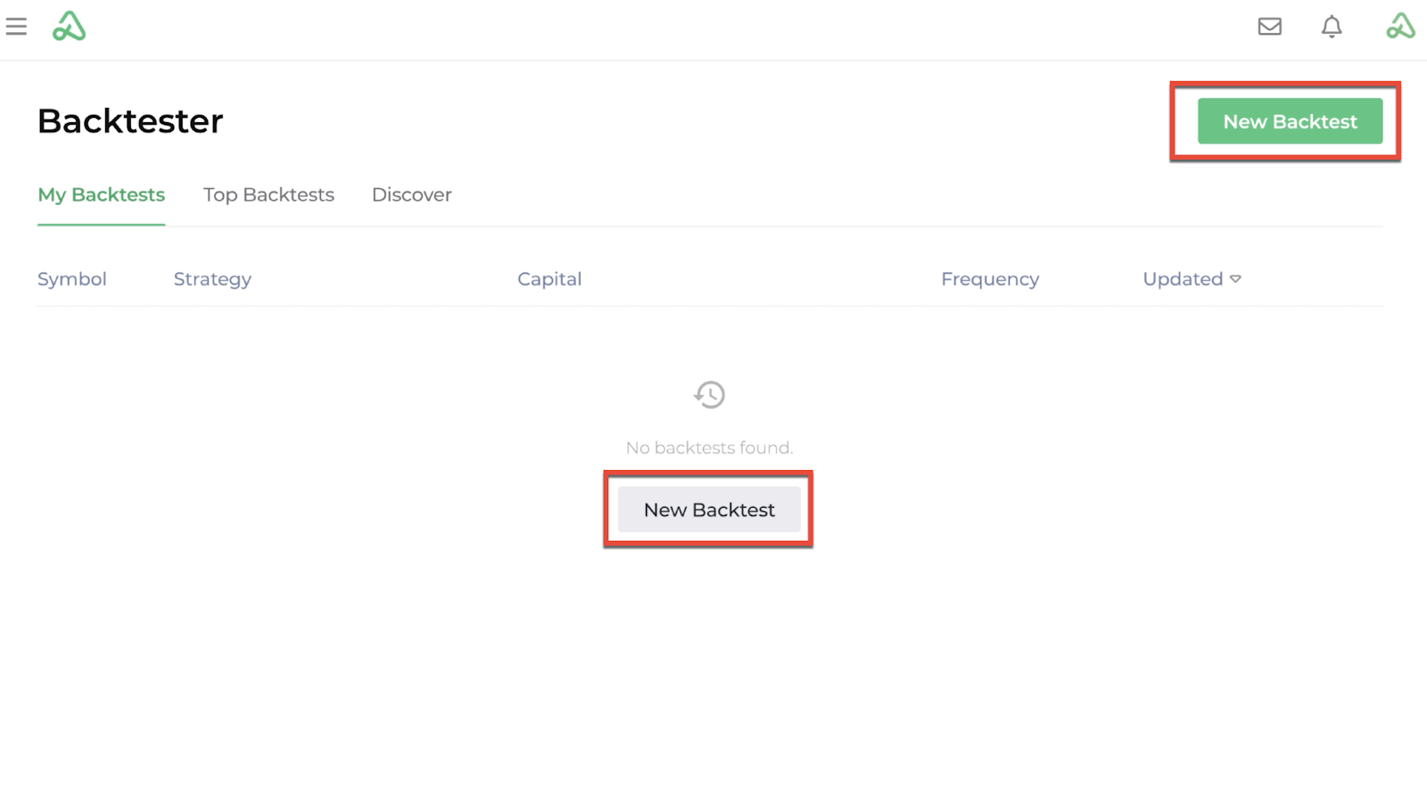 Screenshot of the backtester homepage with new backtest highlighted