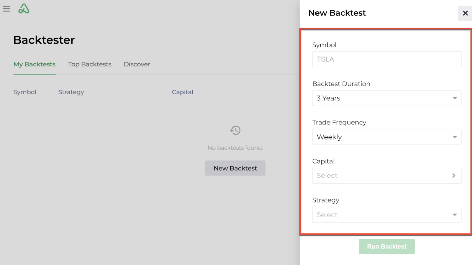 Screenshot of the new backtest criteria display