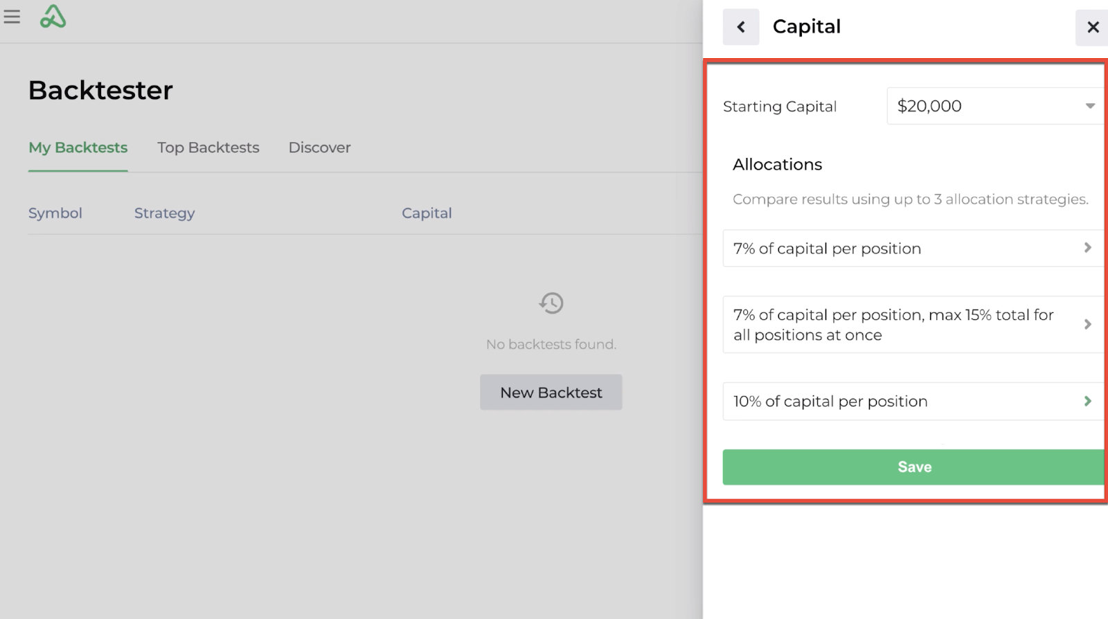 Screenshot highlighting the capital allocation options available for a new backtest