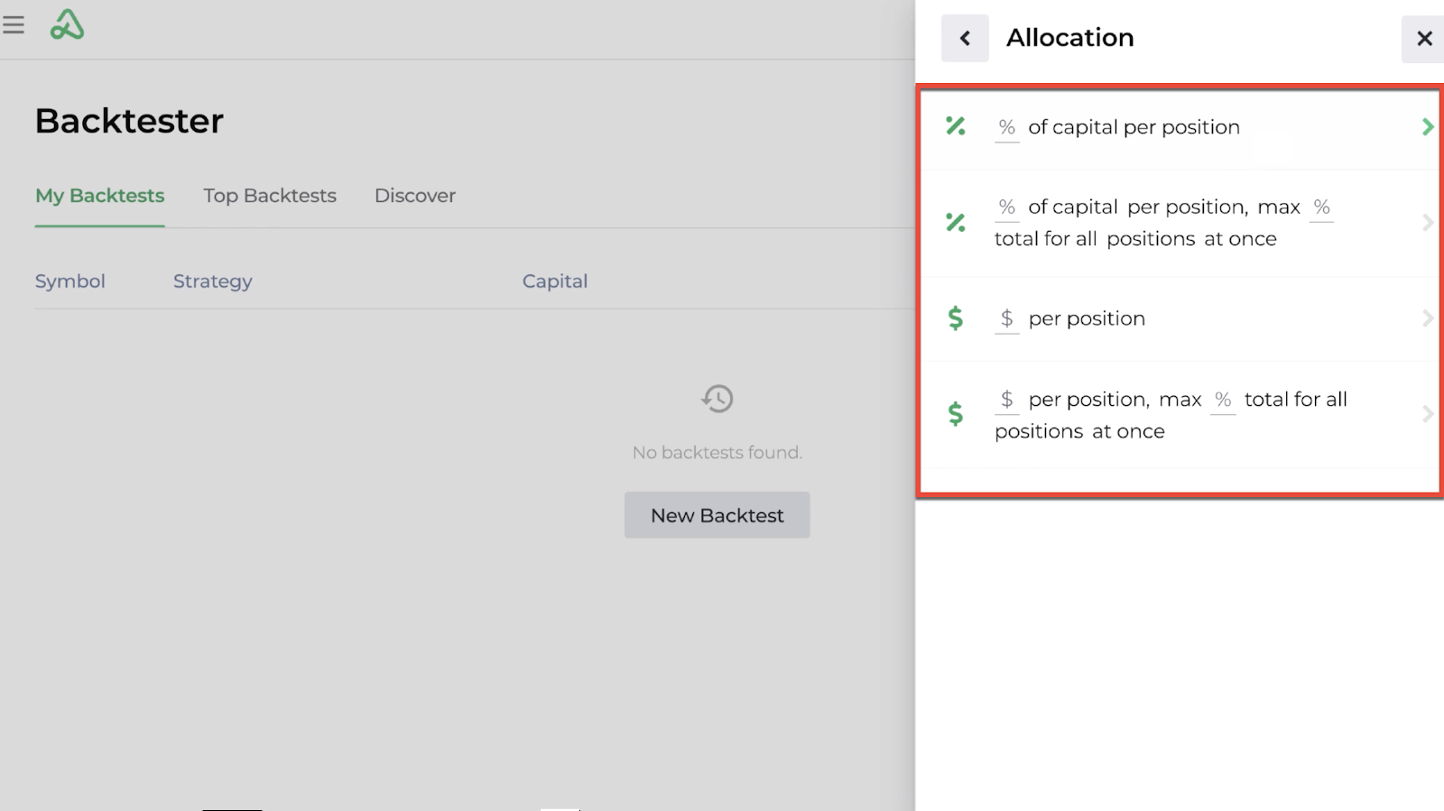 Screenshot highlighting the four capital allocation options available with a new backtest