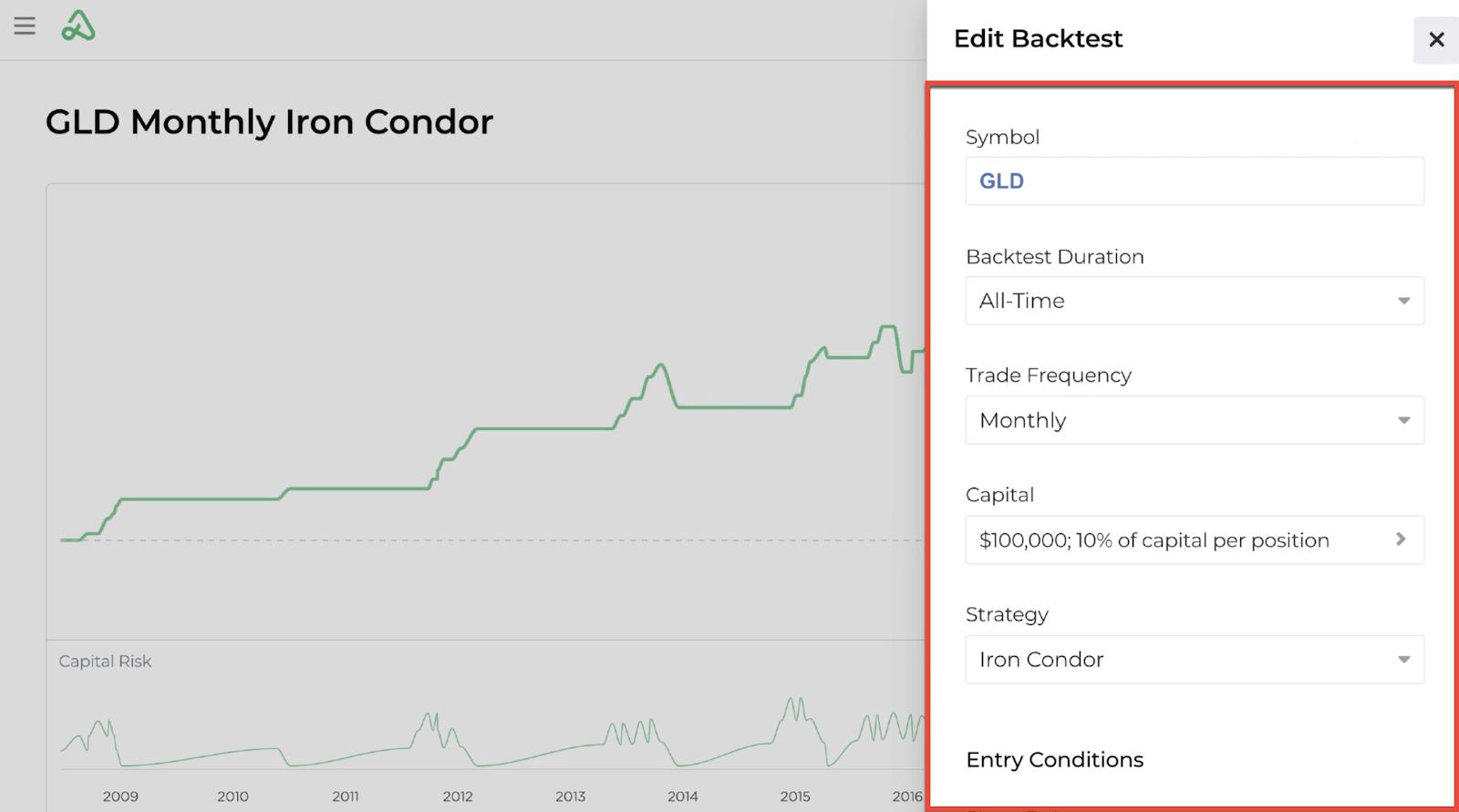 Screenshot of the edit backtest input display