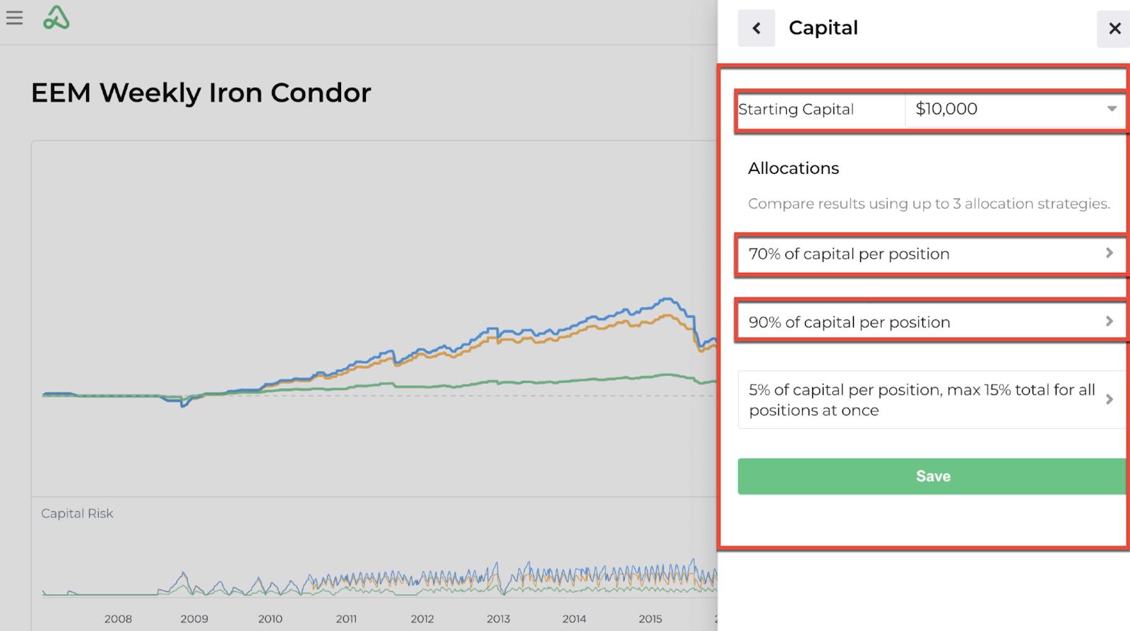 Screenshot of a backtest's capital allocation inputs