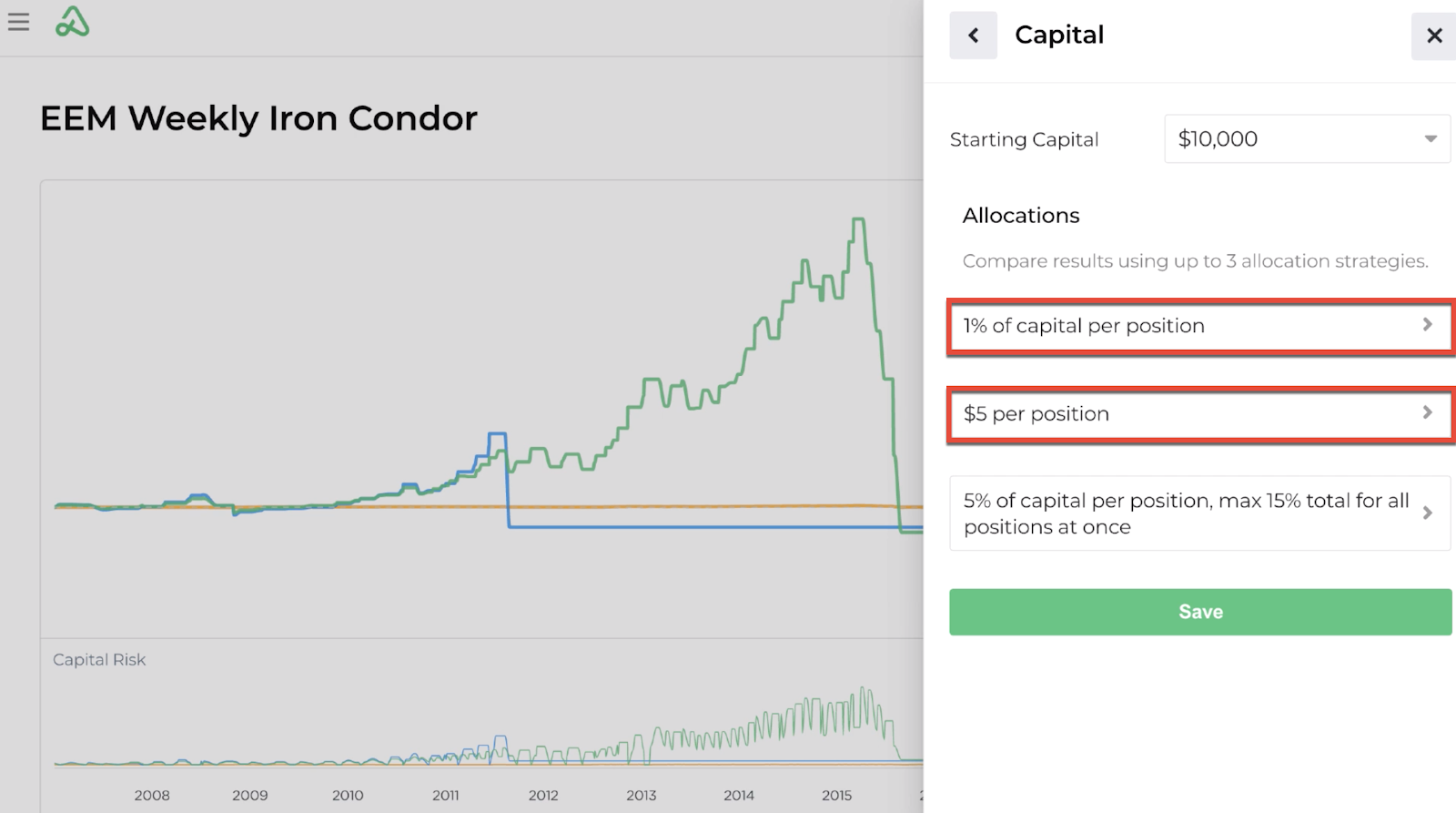Screenshot of modified backtest capital allocation inputs