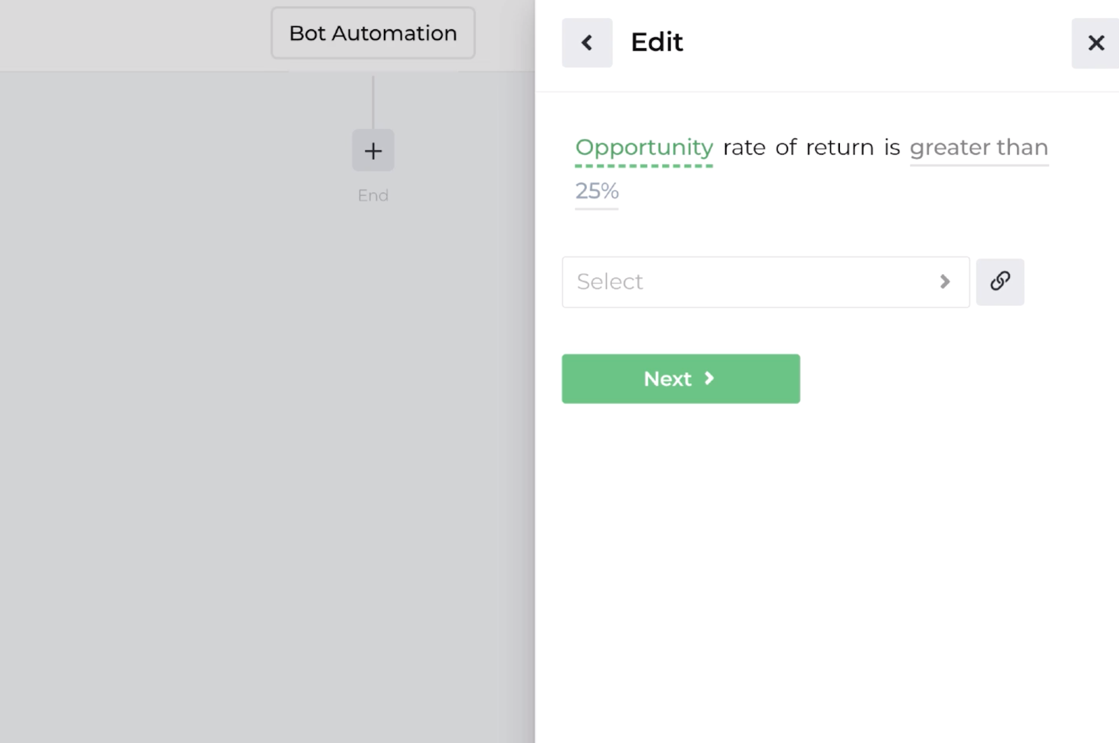 Screenshot displaying the decision recipe for evaluating opportunity return expectations