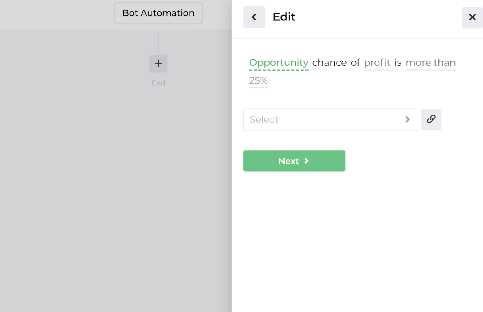 Screenshot displaying the decision recipe for evaluating opportunity probabilities
