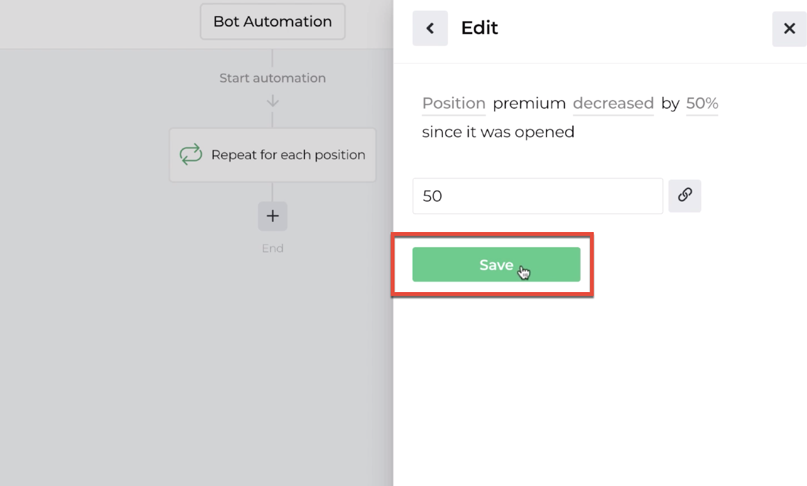 Screenshot highlighting the save button following the decision recipe inputs