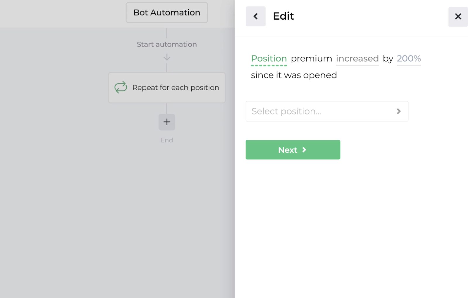 Screenshot displaying the decision recipe for evaluating position performance
