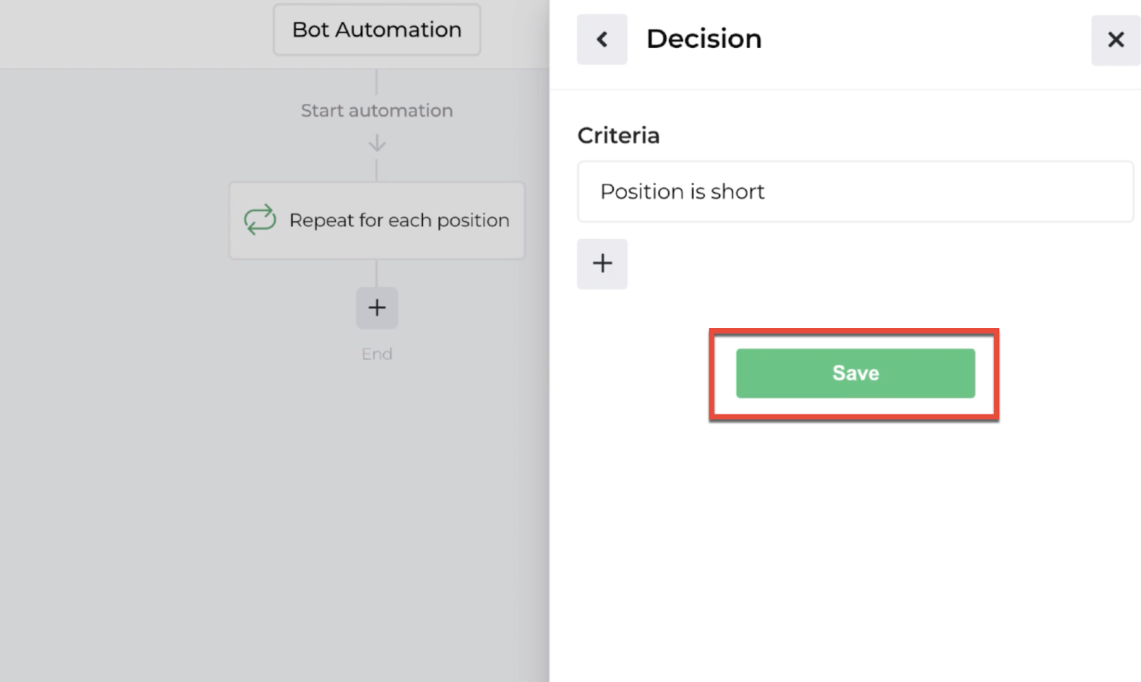 Screenshot highlighting the save button to return to the automation editor