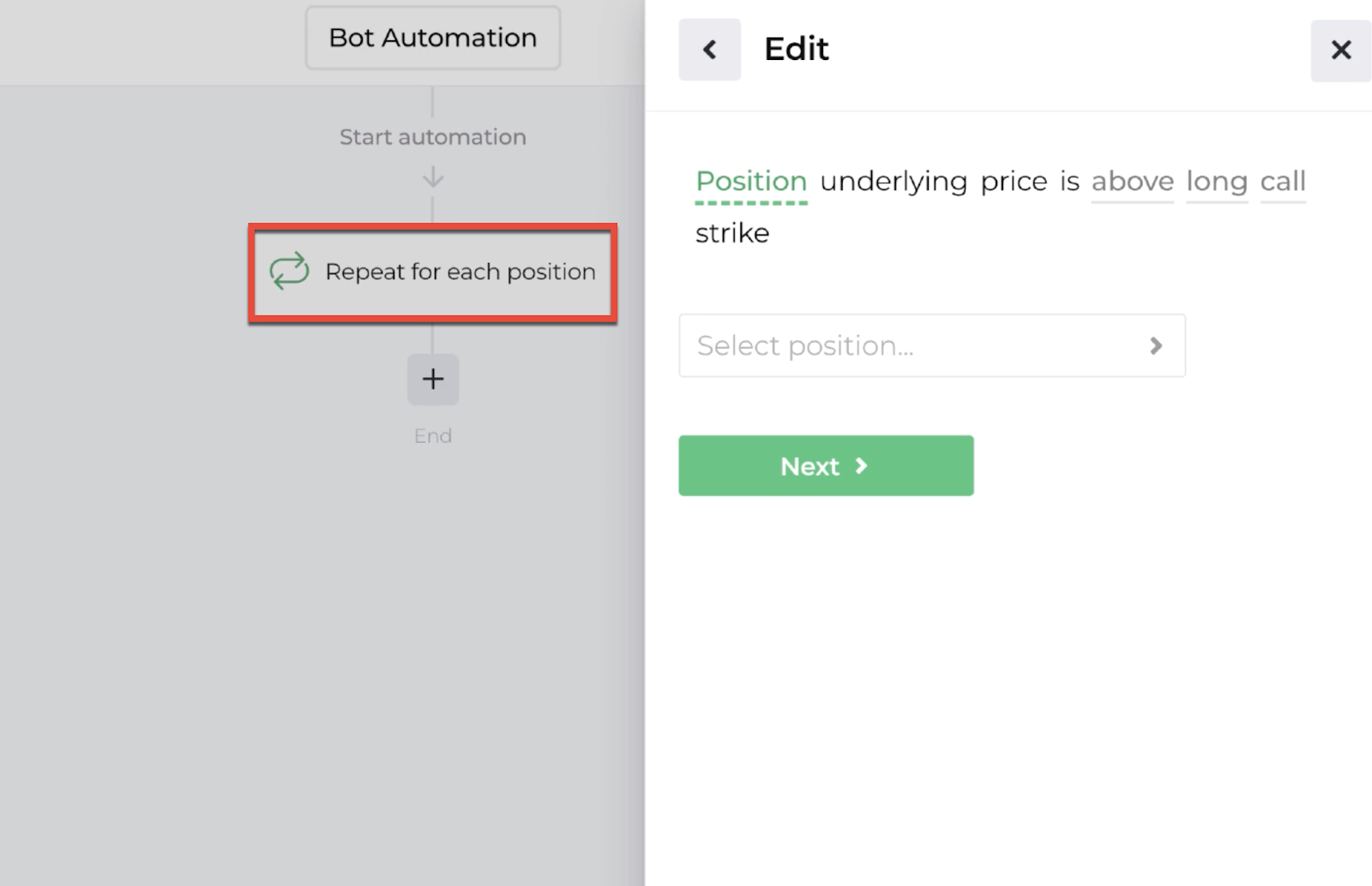Screenshot highlighting the repeater action in the automation editor