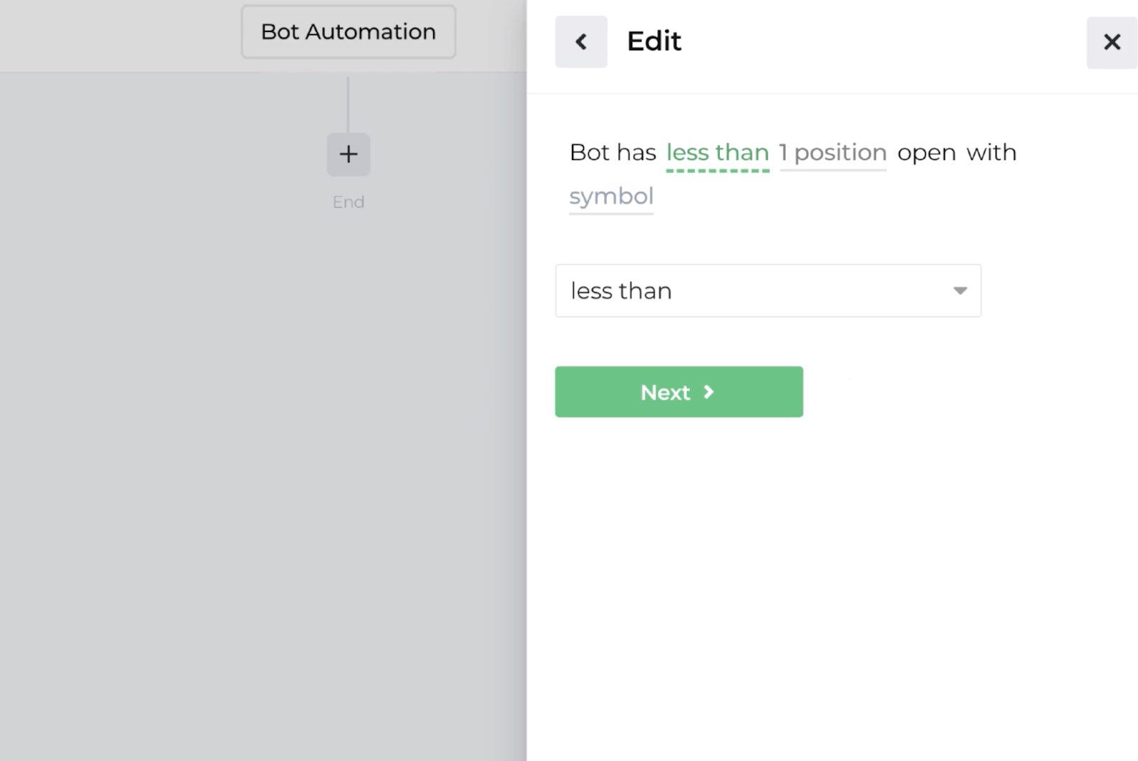 Screenshot displaying the decision recipe for comparing bot position count to underlying symbol