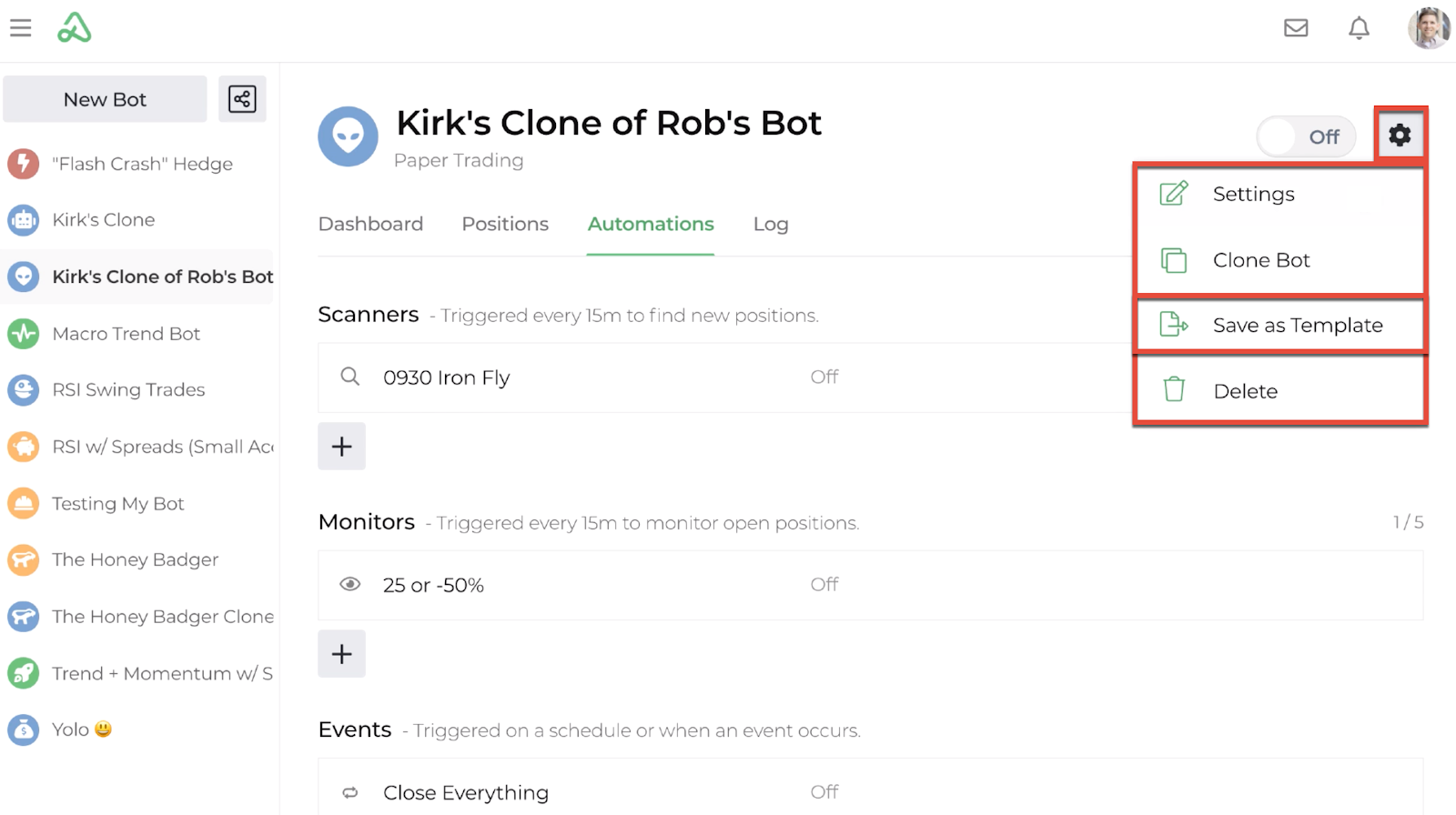 Screenshot of the bot dashboard with save as template highlighted