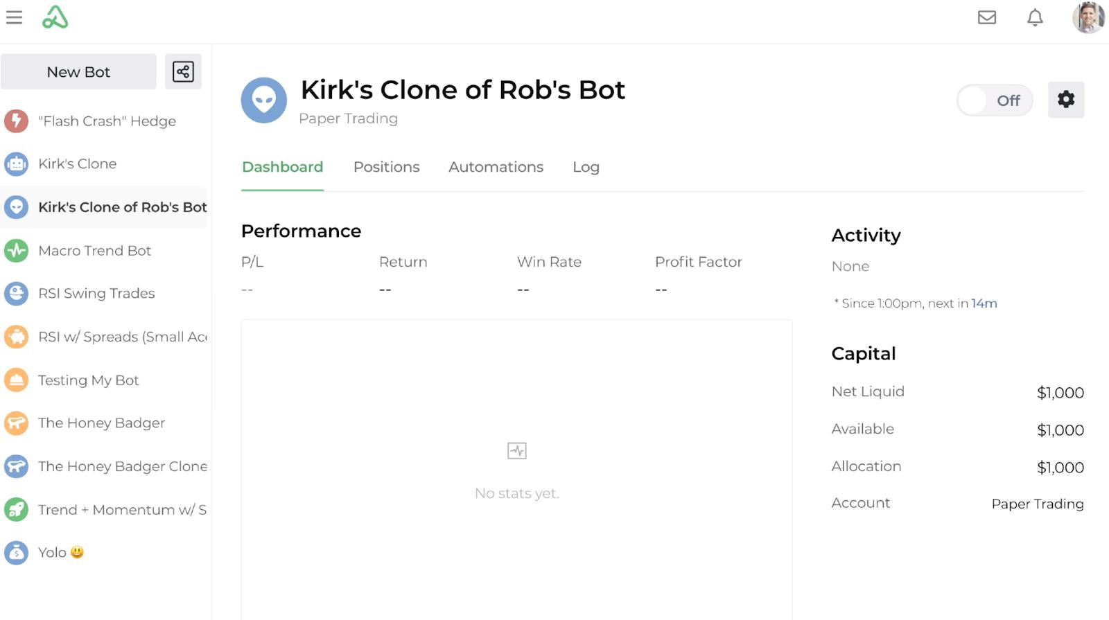 Screenshot of the cloned bot's dashboard