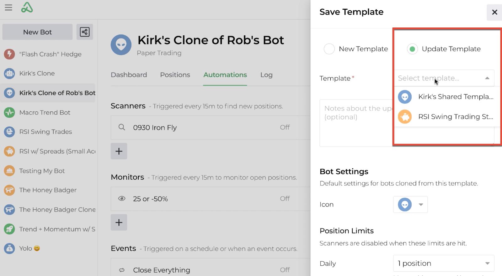 Screenshot of the save template display