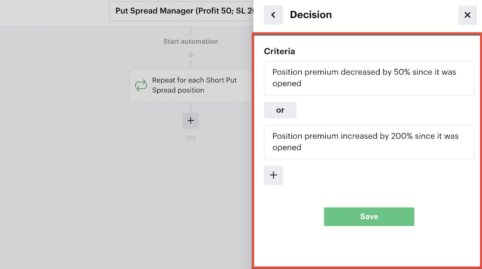 Nested decision criteria for evaluating premium