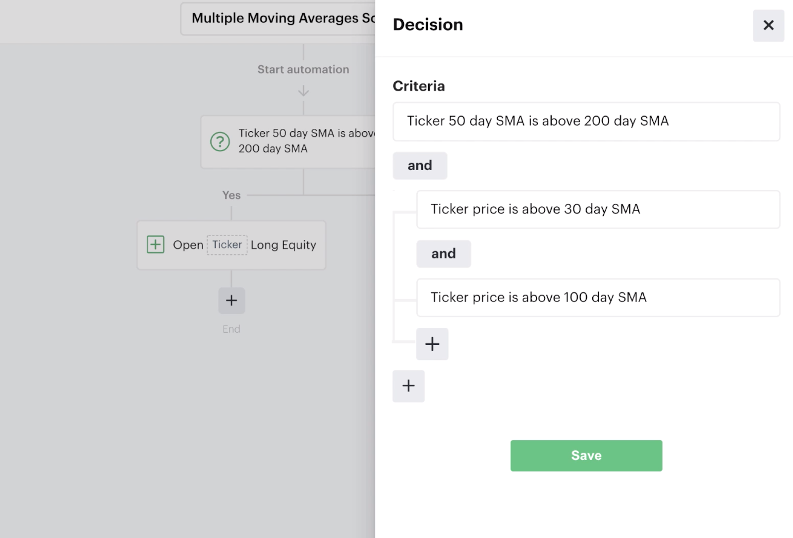 Nested decision recipe with multiple moving average criteria