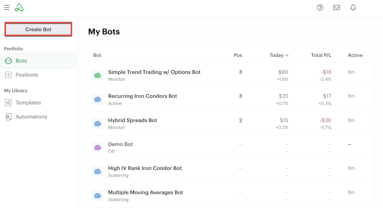 Bot dashboard highlighting Create Bot button