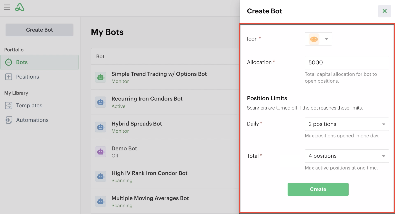 New bot global settings