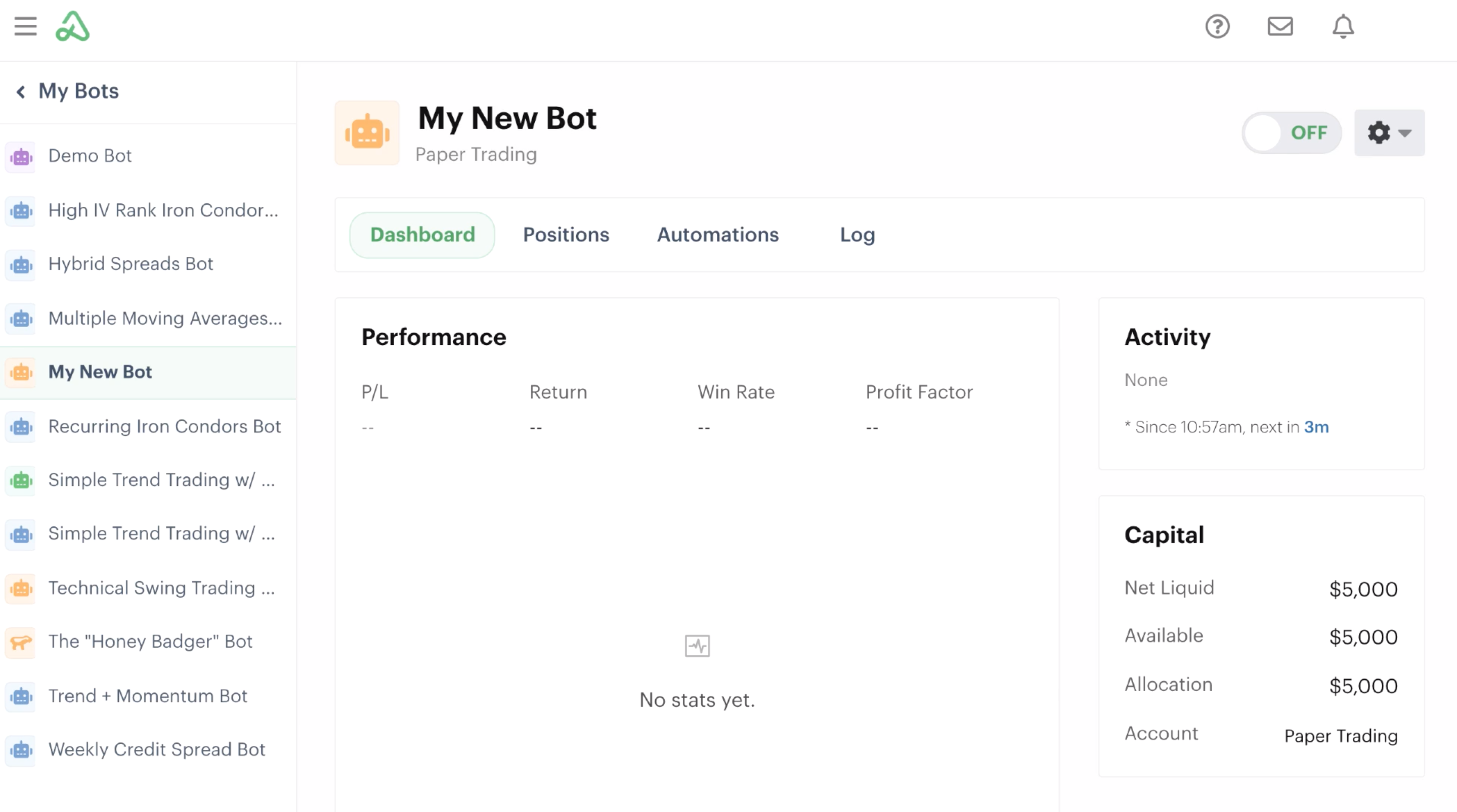 New bot in the bot dashboard