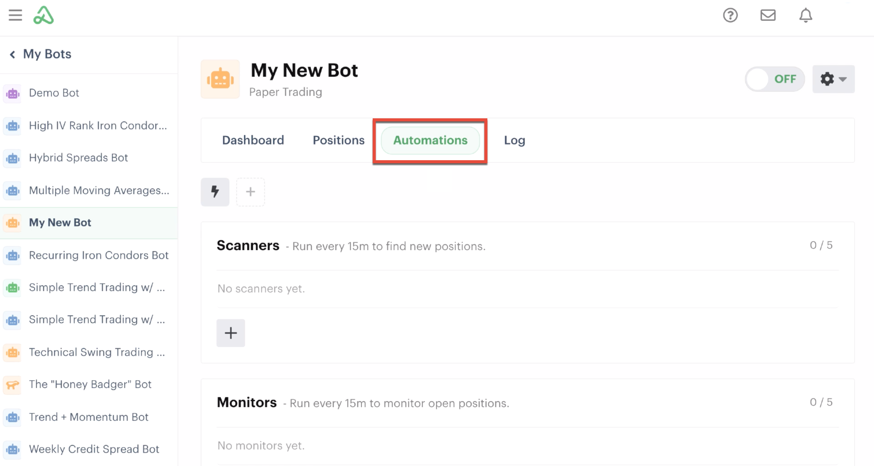 Bot dashboard highlighting the automations tab
