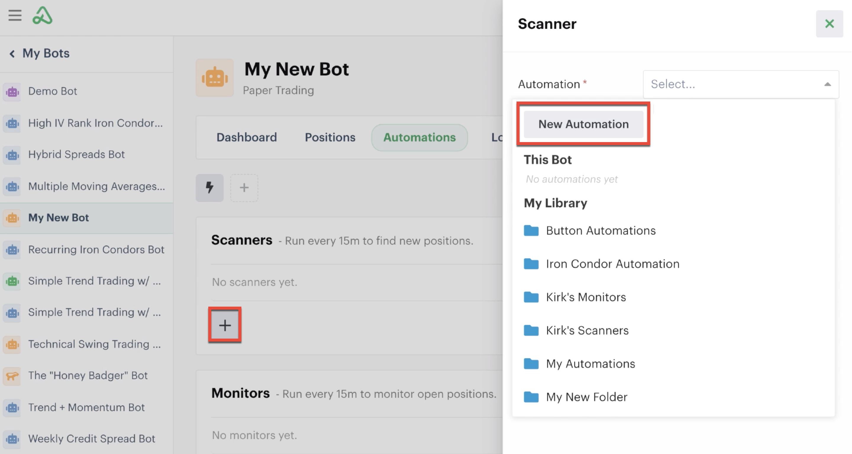 Adding a new automation from the automations tab in the bot dashboard