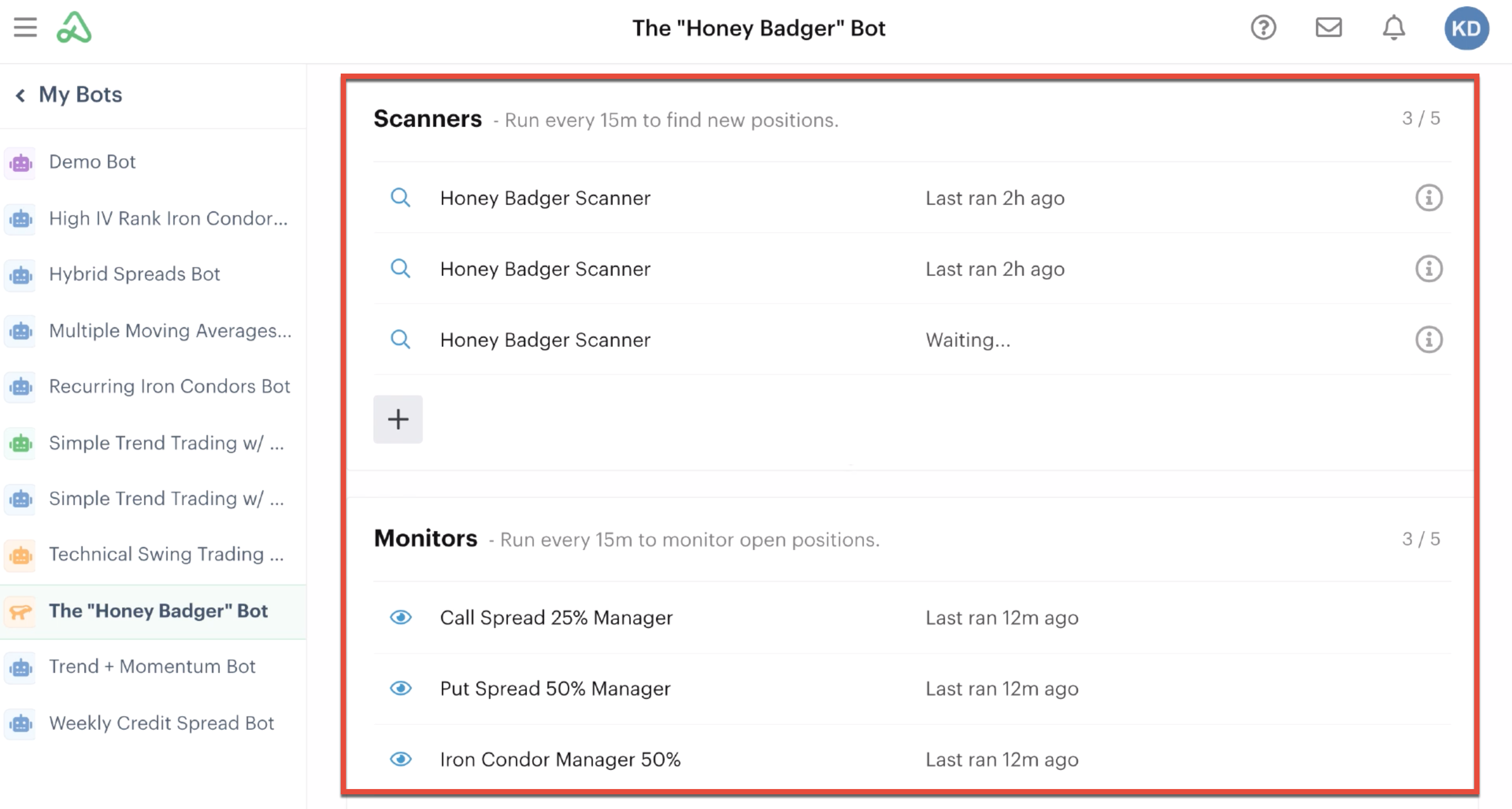 Honey Badger bot example with scanner and monitor automations