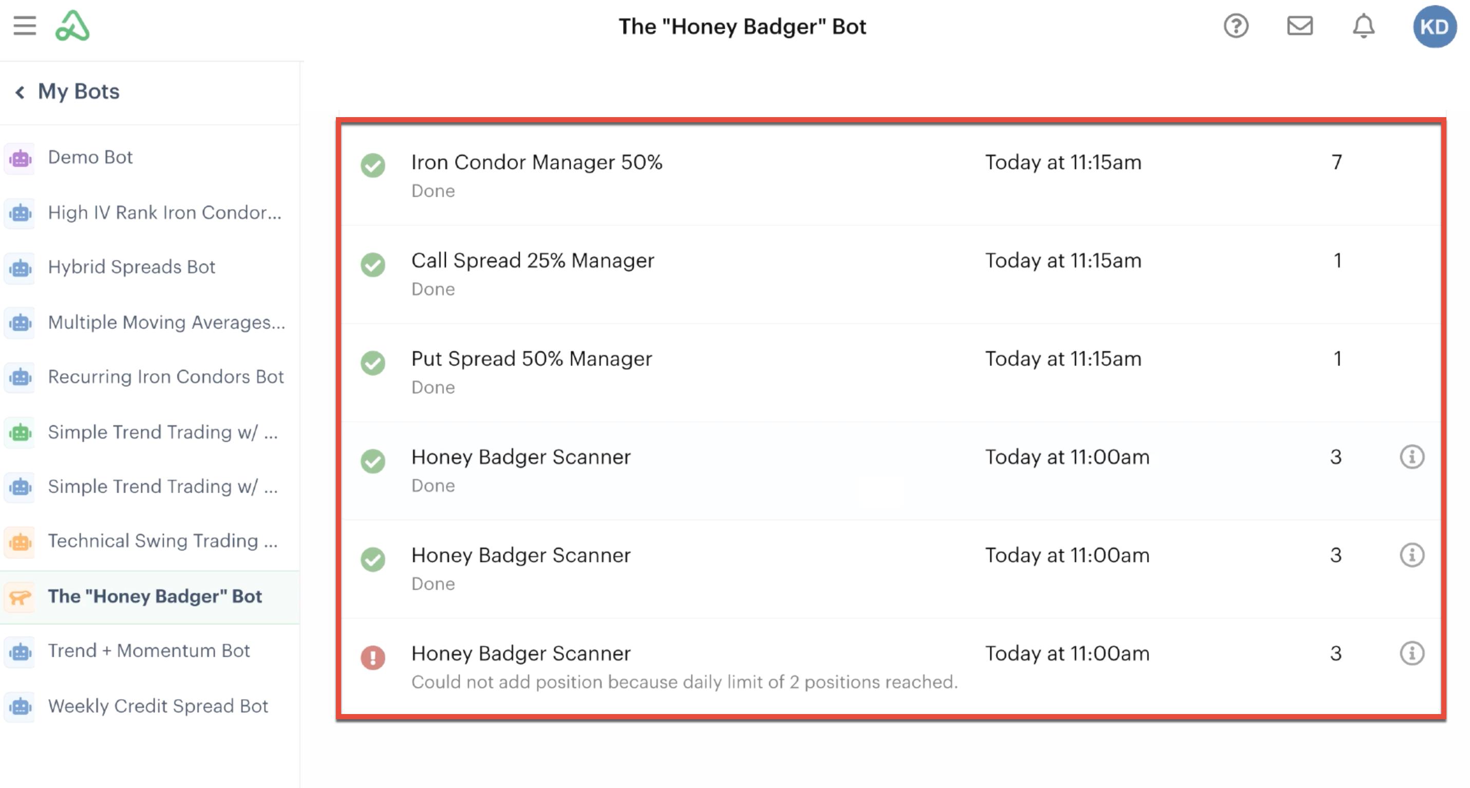 Bot log highlighting automation activity