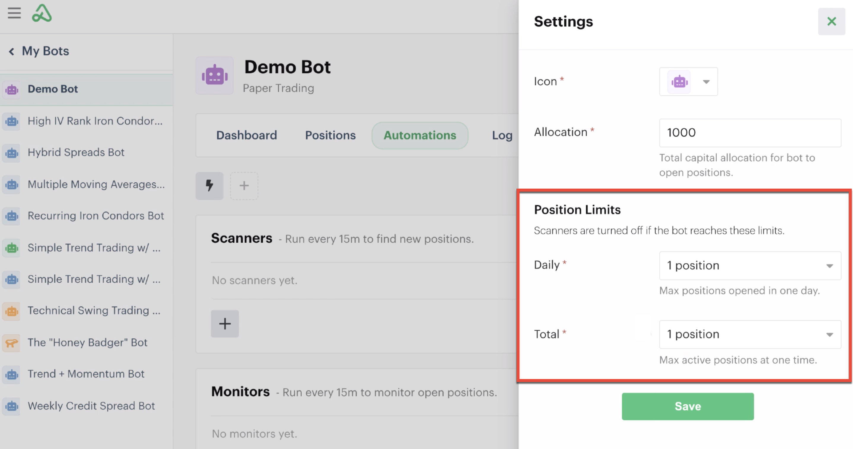 New bot position limits highlighted