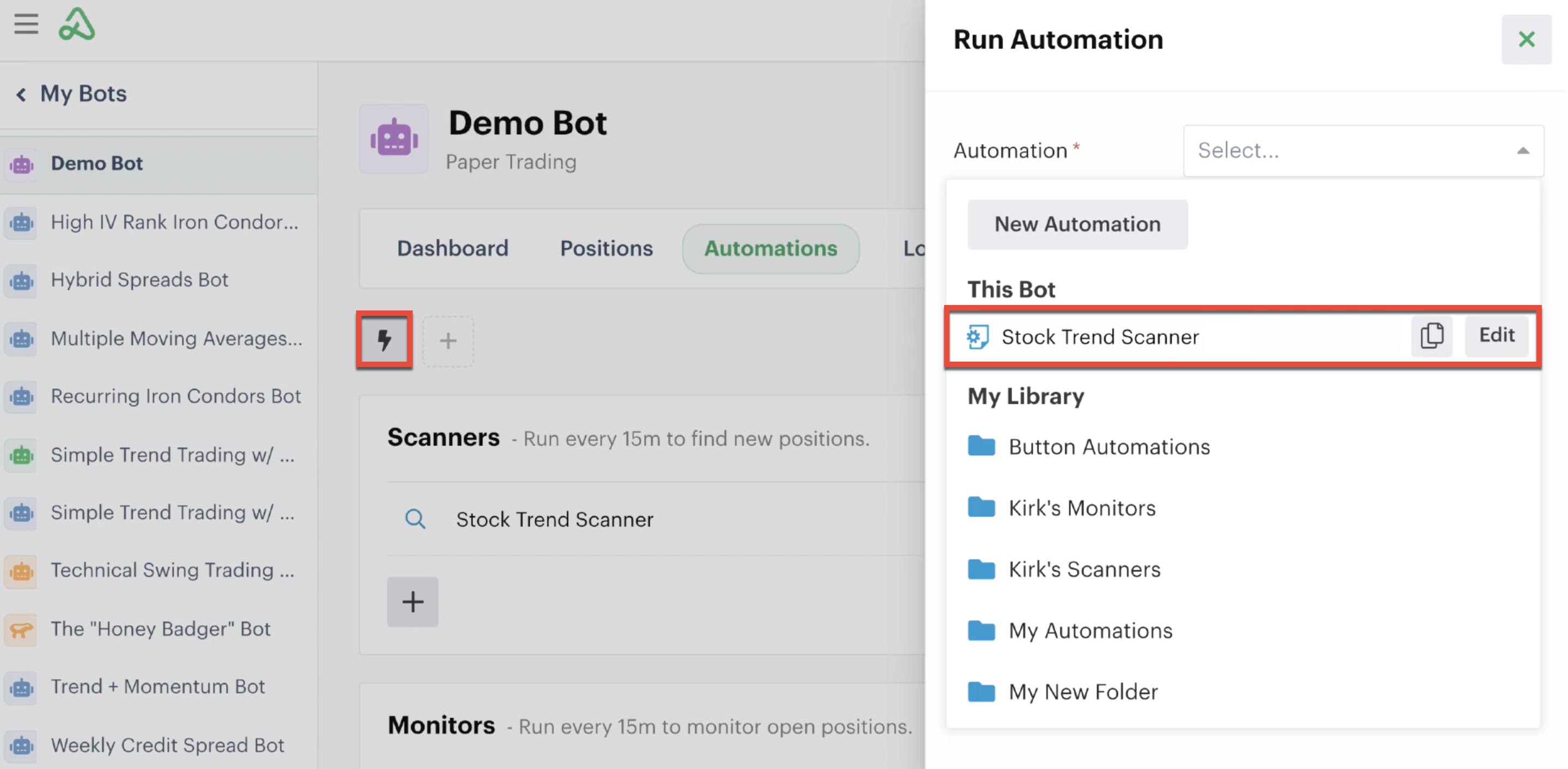 Lightning bolt icon highlighted to run automation instantly