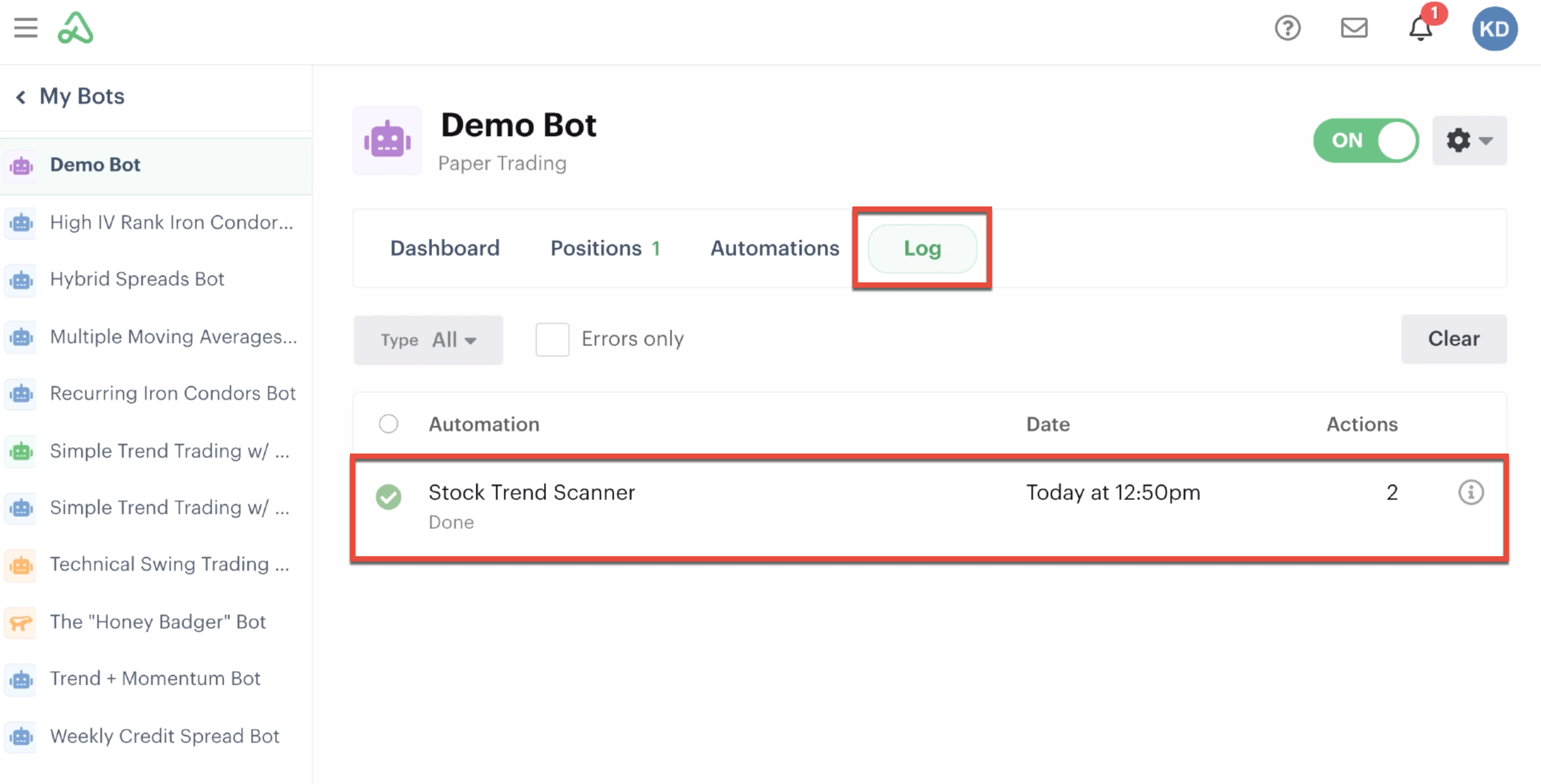 Bot log highlighted displaying successful scanner automation
