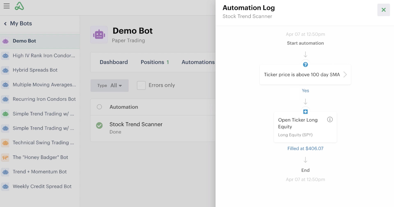 Automation action details