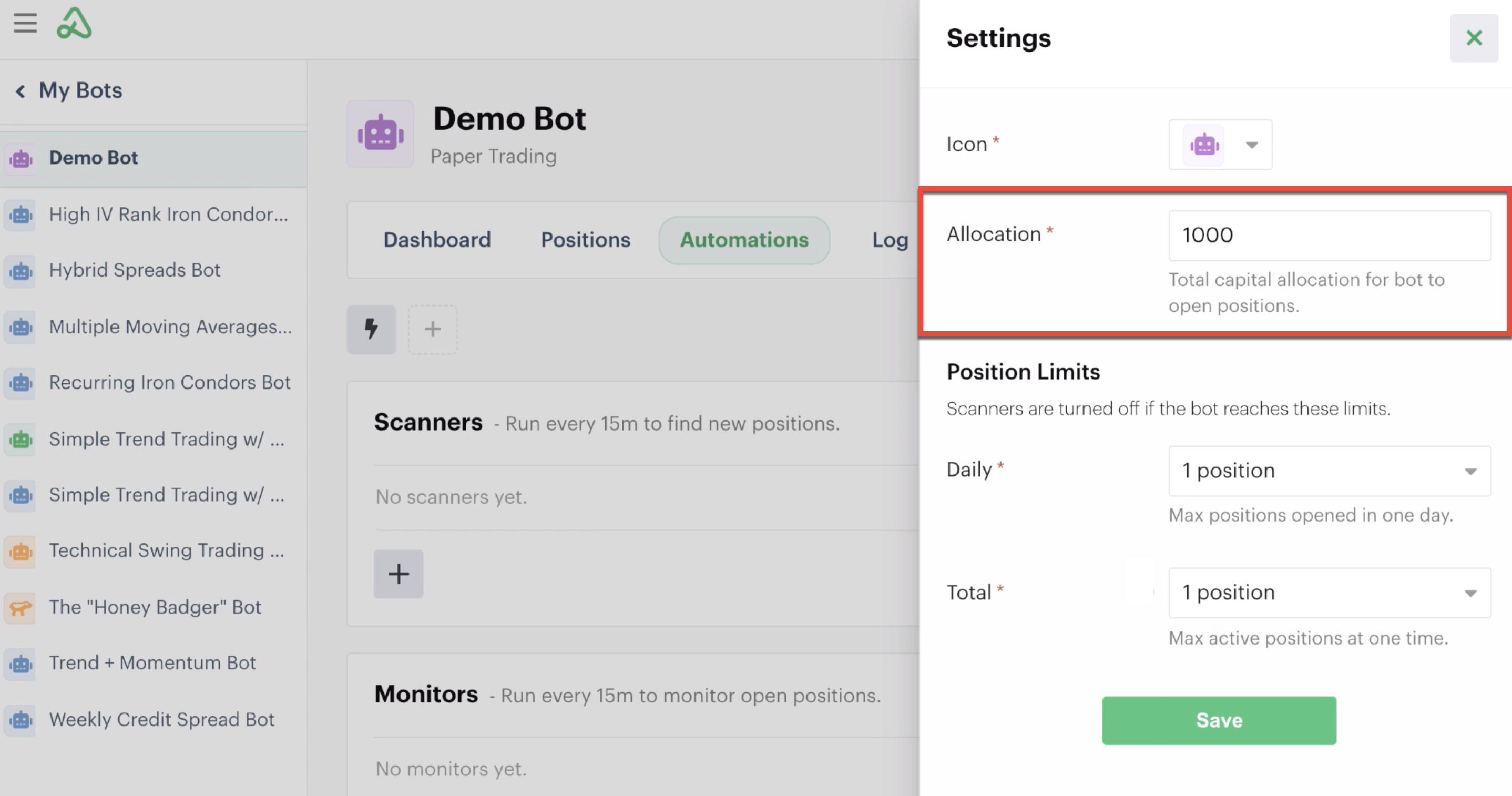 Allocation limit highlighted in bot settings