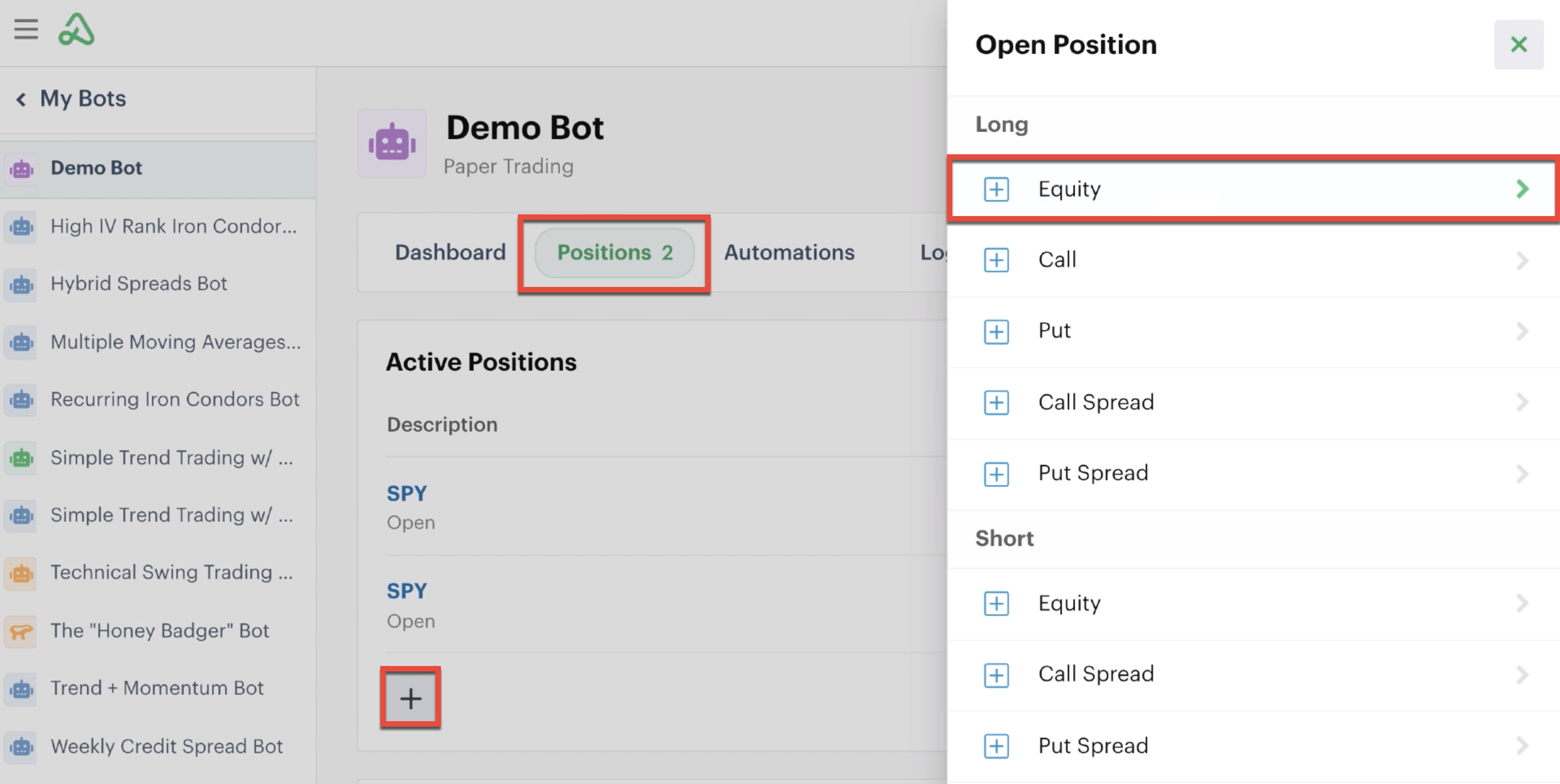 Open a new position in the positions tab