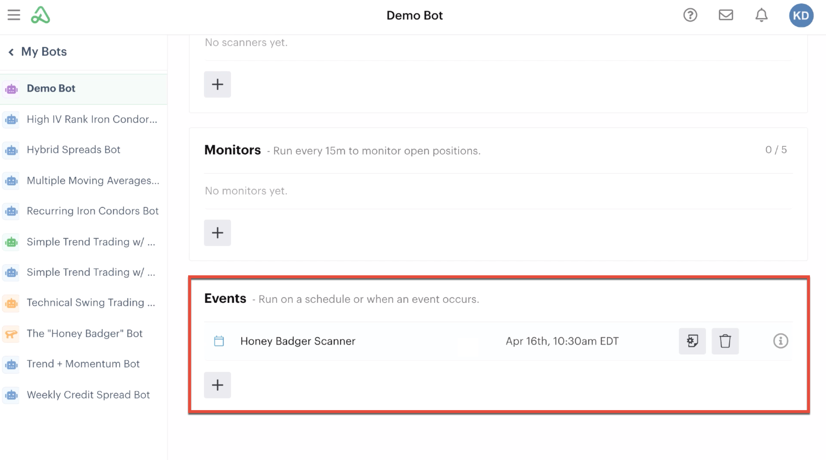 New bot event automation in the events section