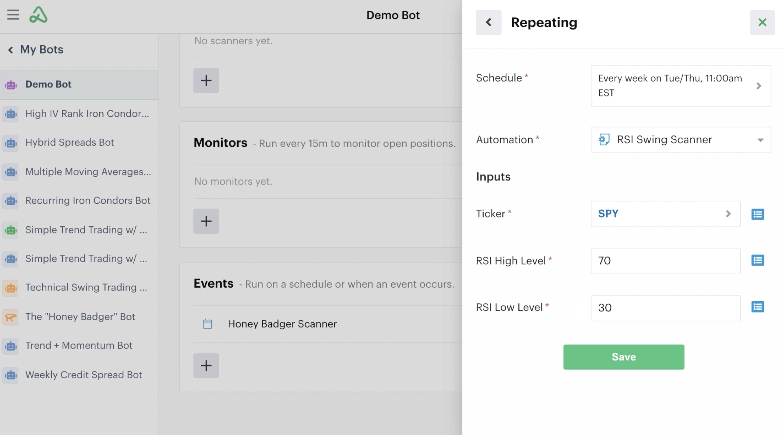 Repeating schedule settings