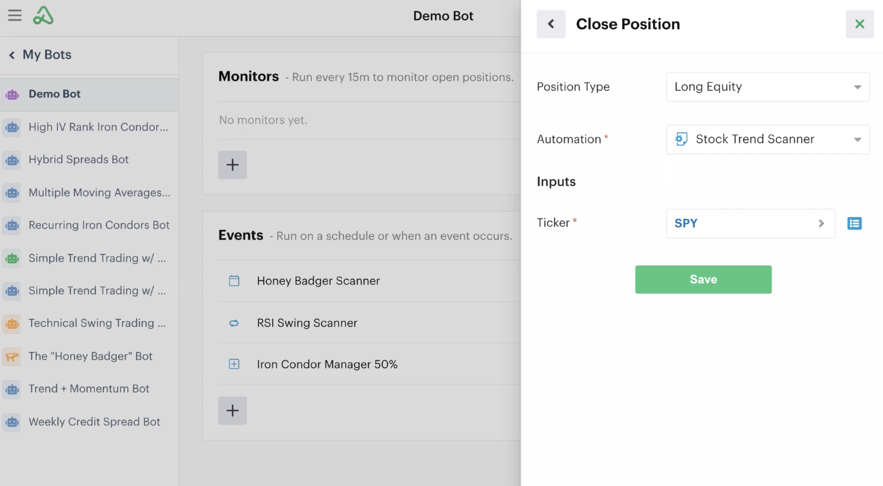 Adding scanner automation as a close position event