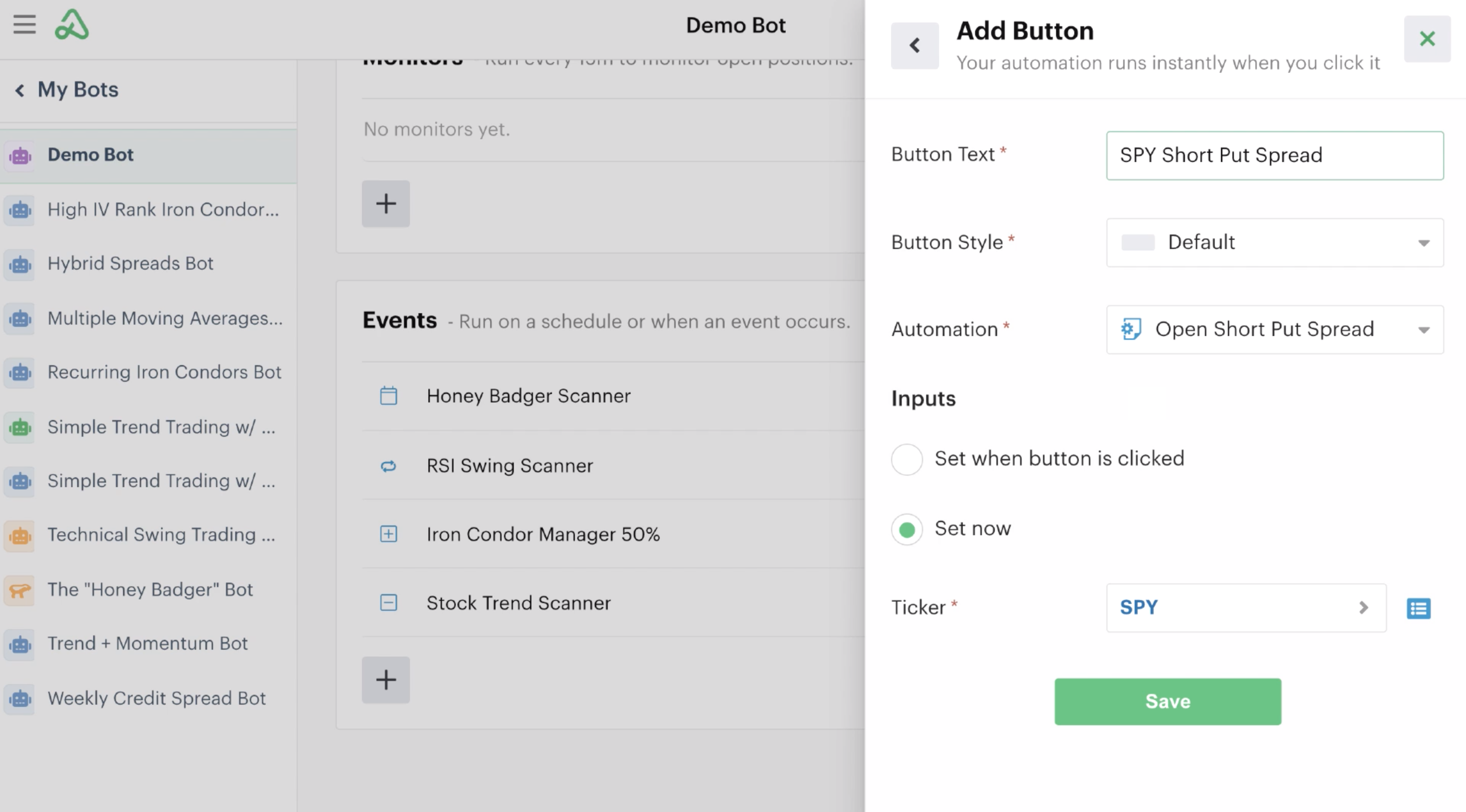Adding a button click event automation