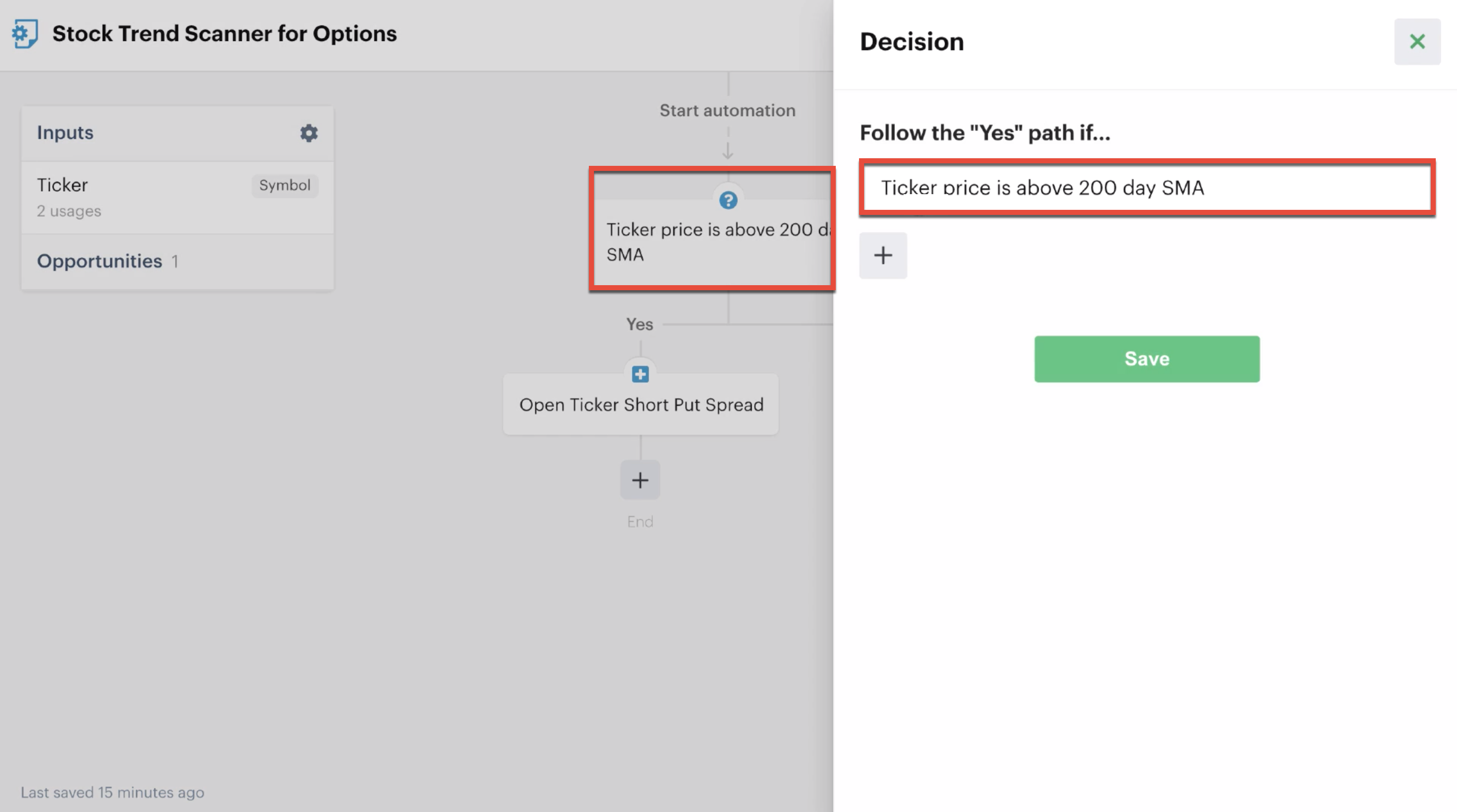 Decision action in automation editor